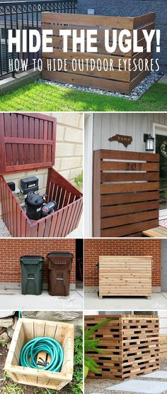 Hide the Ugly! • How to Hide Outdoor Eyesores! • Lots of creative DIY projects and tutorials on how to hide ugly trash cans, utility, electrical and a/c units, pool pumps and hoses! #DIY #projects #tips #ideas #tutorials #homedecor #decorating #howto #decoratingyoursmallspace #build #outdoor #eyesores #outdooreyesores #trashcans #hose #utilities #fence