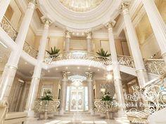 Интерьер роскошной гостиной в особняке. Фото 2018
