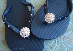 Black Flip Flops. Bridal  flip flops w/ by MyDreamWedding on Etsy, $30.00