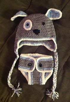 Crochet matching puppy hat and diaper cover