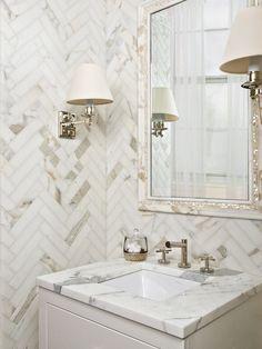 herringbone tiled wall...great for powder room