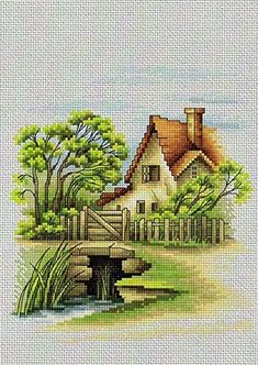 Luca-S Counted Cross Stitch Kit - Summer Landscape Cross Stitch House, Counted Cross Stitch Patterns, Cross Stitch Designs, Cross Stitch Embroidery, Embroidery Patterns, Cross Stitch Landscape, Cross Stitch Pictures, Summer Landscape, Cross Stitching