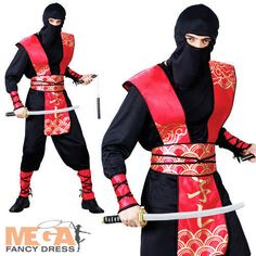 Boys Kids Childrens Black Gold Ninja Fighter Halloween Fancy Dress Costume 4-12