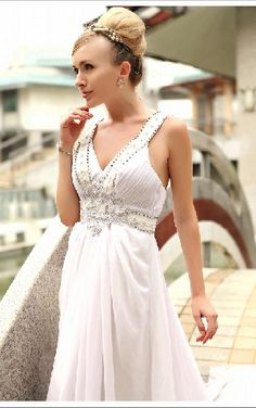White Empire Waist V-neck Beadings Around The Bodice Chiffon