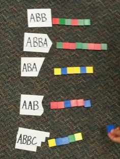 This patterning activity helps students understand the different types of patterns that can be made and allows them to analyze how the patterns grow and continue. Algebra Activities, First Grade Activities, 1st Grade Math, Kindergarten Activities, Math Resources, Teaching Math, Grade 1, Preschool Games, Montessori Activities