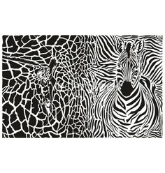 Background with zebra and giraffe vector