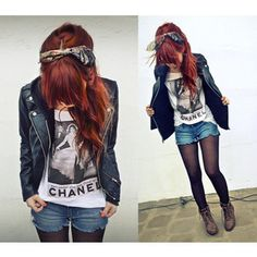 Jean cutoffs over tights with my leather jacket, zipper tee, and skull headband
