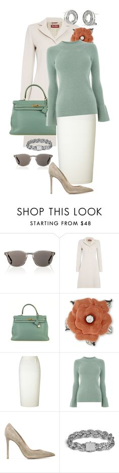 """""""Untitled #404"""" by kate9297099 ❤ liked on Polyvore featuring Oliver Peoples, MaxMara, Hermès, Kenneth Jay Lane, Roland Mouret, Warehouse, Gianvito Rossi and John Hardy"""