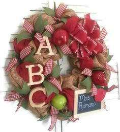 Hey, I found this really awesome Etsy listing at https://www.etsy.com/listing/183070173/school-burlap-mesh-wreath-teacher-burlap