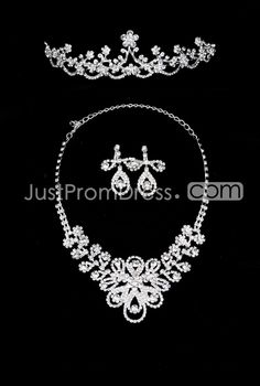 Beauutiful Waterdrop Shaped Alloy Wedding Bridal Jewelry Set(Including Tiara,Necklace and Earrings)-HC
