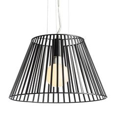 Suspended light with a lacquered metal shade.