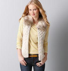 Loft - Faux Fur Collar Popcorn Stitch Vest