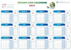 Weight loss calendar for 2013