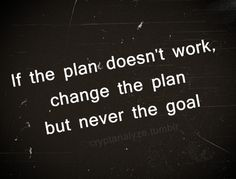 """If the plan doesn't work, change the plan, but never the goal"" #quote"