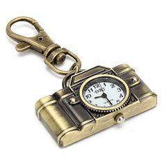 câmera de liga retro unisex de quartzo analógico keychain relógio (bronze) – BRL R$ 7,72
