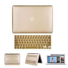 """Rubberized Hard Case For MacBook Air/PRO/Retina 11"""" 13"""" 15"""" +Keyboard Cover Gold"""