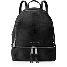 Michael Michael Kors Rhea Medium Perforated Backpack ($245) ❤ liked on Polyvore featuring bags, backpacks, backpack bags, genuine leather backpack, real leather backpack, rucksack bags and perforated leather bag
