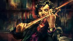 Oil Painting on Canvas Sherlock by Benedict Cumberbatch