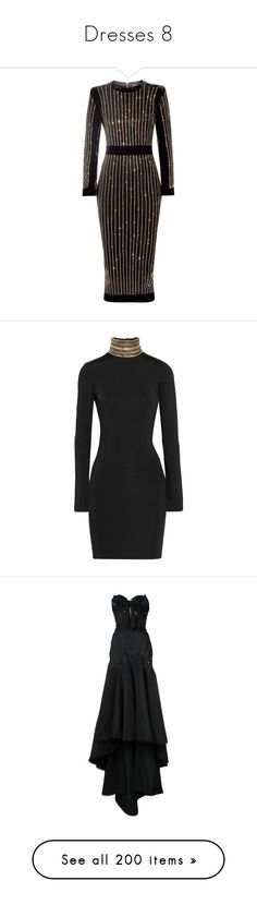 """""""Dresses 8"""" by rocket-queen-baby ❤ liked on Polyvore featuring dresses, balmain, vestidos, cocktail dress, mid calf cocktail dresses, velvet dress, mid calf dresses, beaded dresses, structured dress and short dresses"""