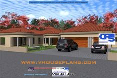 Overall Dimensions- x mBathrooms- 2 Car GarageArea- Square meters Round House Plans, Free House Plans, House Floor Plans, Bungalow House Design, Modern House Design, House Plans South Africa, Beautiful House Plans, Building Costs, 4 Bedroom House Plans