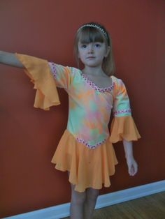 Figure Skating dress - Orange tie-dye - Girl's size 8