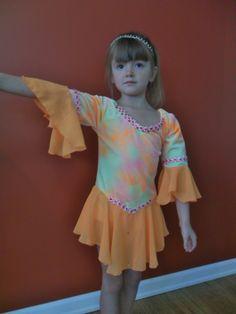 Figure Skating dress - Orange tie-dye - Girl's size 8