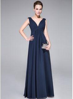 Corte A/Princesa Escote en V Vestido Chifón Charmeuse Vestido de noche con Volantes Bordado