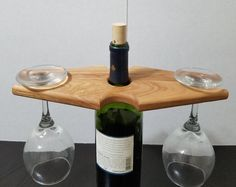 Wine caddy, Reclaimed wood wine rack, Over the bottle wine glass holder, Wine for two, Wooden wine rack, Rustic bar decor, Wine display