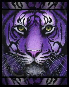 Purple Tiger Big Cat Wild Fiala Ltd Edition Myka Jelina CANVAS Embellished 8x10 #MykaJelinaArt #Modernism