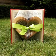 Open Heart - Green Ribbon - Valentine's day - Folded book art - girlfriend gift - anniversary - wedding - handmade - Book Sculpture