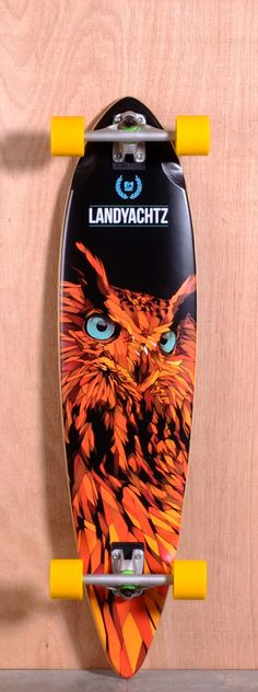 My boyfriend's Board: Landyachtz Bamboo Totem Longboard Complete I don't need more longboards, but if I did I'd want a bamboo pintail with an owl on it. Bamboo Longboard, Longboard Decks, Skateboard Decks, Longboard Design, Skateboard Design, Longboarding, Wakeboarding, Old School Skateboards, Skate Decks