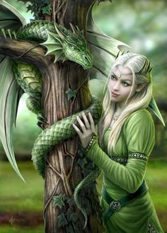 Anne Stokes - Amazing is the only way to describe her artwork that and I love the fantasy theme./ small green dragons in my fantasy world are healing dragons. they are really smaller than this dragon, kitten sized. Elfen Fantasy, 3d Fantasy, Fantasy Kunst, Fantasy World, Fantasy Images, Unicorn Fantasy, Fantasy Mermaids, Anne Stokes, Fantasy Artwork