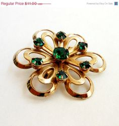 Mothers Day Sale Green Rhinestone Brooch Emerald by Flourisheshome