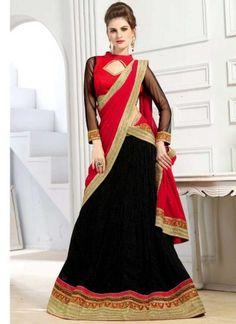 Red Black Embroidery Work Lycra Bemberg Silk Designer Wedding Lehenga Choli         #LEHENGA #Choli #Wedding #Bridal       http://www.angelnx.com/Lehenga Choli