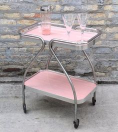 VINTAGE 1950s Pink Bar Cart would be so cute as bathroom storage or a bedside table too! Unique retro style on a budget