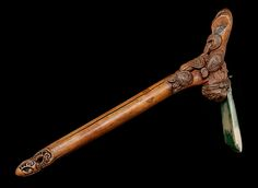 Hafted adze, toki pou tangata, of wood and nephrite, from New Zealand; part of the Forster collection (Forster Wood Carving Art, Bone Carving, Abstract Sculpture, Wood Sculpture, Bronze Sculpture, Maori Patterns, Maori Art, Indigenous Art, Ocean Art