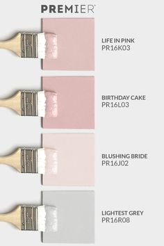 Turn any space into a relaxing oasis with this colour set by PREMIER #PaintWithPREMIER Life in Pink: PR16K03 Birthday Cake: PR16L03 Blushing Bride: PR16J02 Lightest Grey: PR16R08