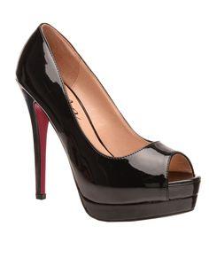 Kate Platform Heels in Black Louboutin Pumps, Christian Louboutin, Rihanna, Peep Toe, Platform, Heels, Black, Fashion, Heel