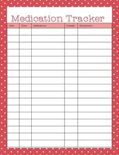 Free Printables - medication tracker is useful for organizing medication too.