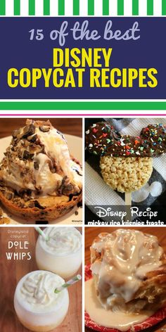 Your family loves Disney for more than the attractions they love the food. Toffee cake and other yummy desserts Dole whips apple pie caramel apples and even loaded baked potato soup. You can - Cat Food - Ideas of Cat Food Disney Desserts, Mini Desserts, Disney Dishes, Disney Snacks, Delicious Desserts, Dessert Recipes, Yummy Food, Disney Food Recipes, Oreo Dessert
