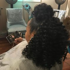 Hair Used: Jamaican Bounce Color Style: Braidless Crochet ? Hair Used: Jamaican Bounce Color Curly Crochet Hair Styles, Crochet Braids Hairstyles, Ponytail Hairstyles, Girl Hairstyles, Curly Hair Styles, Natural Hair Styles, Teenage Hairstyles, Crochet Braid Styles, Summer Hairstyles