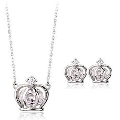 Authentic Austrian white crystal 18k white gold plated distinguished crown necklace earrings jewelry set [JS466] - US$7.39 : www.evernewfashion.com