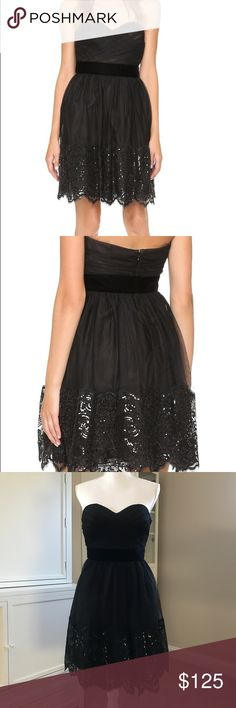NWT Marchesa Notte Tulle Sequin Lace Detail LBD Lovely new with tags Marchesa Notte Tulle dress. This dress is pleated on the top and features a sweetheart neckline. Velvet band defines the waist. The interior features an internal corset that is boned and has it's own zip to ensure the perfect fit. Hidden back zip. Please note that this zips all the way up. My dress form was too large to get this dress to zip. Beautiful sequin detail along the bottom looks like lace. Really pretty dress with…