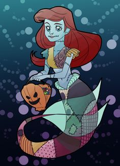 freaking awesome♥ Ariel dressed up as Sally from Nightmare Before Christmas.