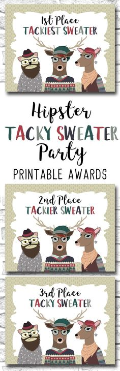 Hipster Tacky Sweater Christmas Party PRINTABLE Awards For A Geek Or Nerd Holiday Party, Tackiest, Tackier And Tacky Awards https://www.etsy.com/ca/listing/475377810/hipster-tacky-sweater-christmas-party