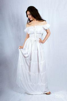 I-D-D Renaissance Peasant Wench Pirate Faire Gown Boho Hippie Sun Dress ~2+ Sale