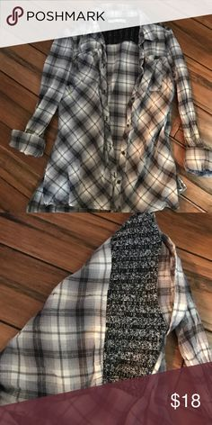 Button Down Lightweight flannel shirt with sweater shoulder. Tops Button Down Shirts