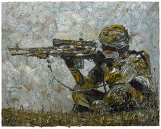 Oil Paint on Stretched Canvas 24 by 30 by 3/4 in./ original art oil painting military soldier army war gun target rifle sniper land