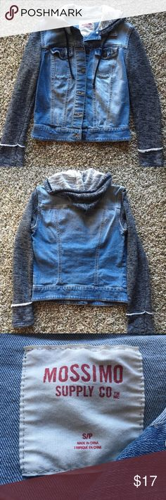 Jean and Sweatshirt Hybrid Jacket Only worn a maximum of 3 times; bought it and just never really wore it for some reason. Great condition! Size small. Super cute with black leggings and a tee, or even a casual dress! Buttons down the front, has a hood, and features some distressing details! Ask any questions. :) Smoke free home. Make a reasonable offer and I will consider it! Mossimo Supply Co. Jackets & Coats Jean Jackets