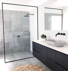 Bathroom inspiration by . Loving the black framed shower screen, contrast of tiles and concrete basin. Bathroom inspiration by . Loving the black framed shower screen, contrast of tiles and concrete basin. Grey Bathroom Tiles, Grey Bathrooms, Modern Bathroom Design, Bathroom Flooring, Bathroom Interior Design, Bathroom Faucets, Small Bathroom, Master Bathroom, Bathroom Black